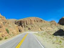 Paesaggio del deserto di Altiplano e strada asfaltata aridi Fotografia Stock Libera da Diritti