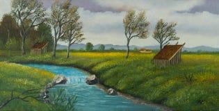 Paesaggio del fiume con il granaio ed i diversi alberi illustrazione di stock
