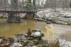Paesaggio del fiume con prima neve Immagini Stock Libere da Diritti