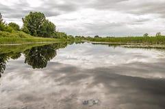 Paesaggio del fiume, degli alberi, del cielo e del giunco riflettenti in un Rive Fotografie Stock