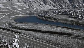 Paesaggio del fiume del Moselle Fotografie Stock Libere da Diritti