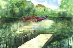 Paesaggio del fiume dell'acquerello Fotografie Stock Libere da Diritti