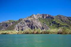 Paesaggio del fiume di Dalyan Fotografie Stock Libere da Diritti