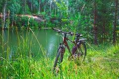 Paesaggio del fiume di estate con una bicicletta La Siberia, Russia Immagini Stock