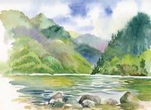 Paesaggio del fiume di estate dell'acquerello Fotografie Stock Libere da Diritti