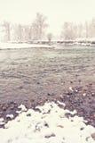 Paesaggio del fiume di inverno Fotografia Stock
