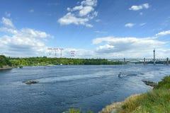 Paesaggio del fiume Dnepr e delle barche Fotografia Stock Libera da Diritti