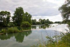Paesaggio del fiume in Francia Fotografie Stock Libere da Diritti