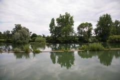Paesaggio del fiume in Francia Fotografia Stock