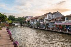 Paesaggio del fiume del Malacca Il Malacca è stato elencato come sito del patrimonio mondiale dell'Unesco dal 7 luglio 2008 immagini stock libere da diritti
