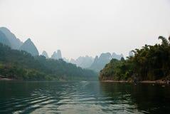 Paesaggio del fiume nell'inverno, Guilin, Cina di Li Fotografie Stock
