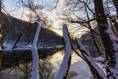 Paesaggio del fiume selvaggio con la riflessione del cielo di tramonto nelle montagne, nell'inverno Fotografia Stock