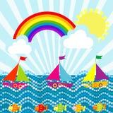 Paesaggio del fumetto con le barche a vela e l'arcobaleno Immagine Stock Libera da Diritti