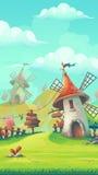 Paesaggio del fumetto con un mulino a vento Immagine Stock Libera da Diritti