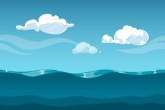 Paesaggio del fumetto dell'oceano o del mare con il cielo e le nuvole Fondo senza cuciture delle onde di acqua per progettazione  royalty illustrazione gratis