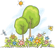 Paesaggio del fumetto di estate illustrazione di stock
