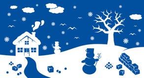 Paesaggio del fumetto di inverno Fotografia Stock