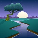 Paesaggio del fumetto di notte royalty illustrazione gratis