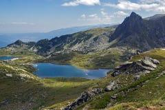 Paesaggio del gemello e dei laghi trefoil, i sette laghi Rila, Bulgaria Fotografia Stock Libera da Diritti