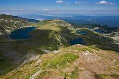 Paesaggio del gemello, del trifoglio, dell'occhio e dei laghi fish, i sette laghi Rila, Bulgaria Fotografia Stock