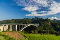 Paesaggio del giacimento del riso e ponte dell'arco in Takachiho, Miyazaki, Jap Immagini Stock