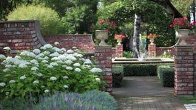 Paesaggio del giardino con la fontana archivi video