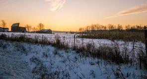 Paesaggio del granaio del Michigan Midwest di inverno Fotografia Stock Libera da Diritti