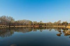 Paesaggio del lago della luna del Jilin Fotografia Stock