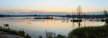 Paesaggio del lago di estate di sera Fotografie Stock