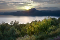 Paesaggio del lago Garda Fotografie Stock