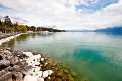 Paesaggio del lago Ginevra, Losanna, Svizzera 1 Fotografie Stock
