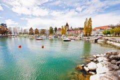 Paesaggio del lago Ginevra, Losanna, Svizzera 2 Fotografia Stock Libera da Diritti