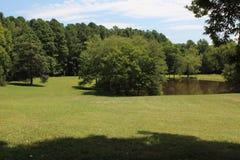 Paesaggio del lago meadow nella casa della piantagione fotografie stock