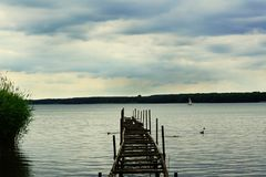 Paesaggio del lago Miedwie, Stargard, Polonia Fotografie Stock