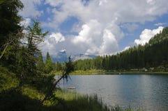 Paesaggio del lago nelle alpi italiane Immagini Stock Libere da Diritti