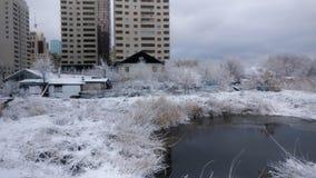 Paesaggio del lago winter fotografia stock