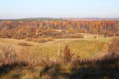 Paesaggio del lato del paese a tempo di caduta Fotografia Stock