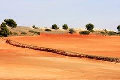 Paesaggio del loess vicino ad Albacete in Spagna fotografia stock