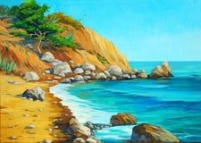 Paesaggio del mar Mediterraneo con una spiaggia Immagini Stock