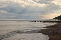 Paesaggio del Mar Nero alla sera di caduta Immagini Stock