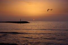 Paesaggio del mare al tramonto Fotografia Stock