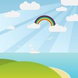Paesaggio del mare con il Rainbow Fotografie Stock Libere da Diritti