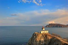 Paesaggio del mare con un faro. Fotografia Stock Libera da Diritti
