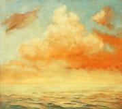 Paesaggio del mare con una nuvola, dipingente Immagine Stock
