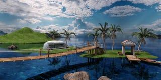paesaggio del mare della rappresentazione 3D immagine stock