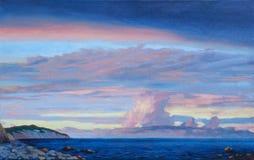 Paesaggio del mare di tramonto Immagine Stock