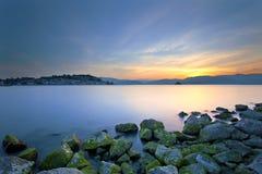 Paesaggio del mare di tramonto Fotografia Stock