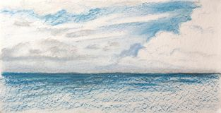 Paesaggio del mare dopo pioggia Fotografia Stock
