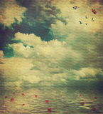 Paesaggio del mare. Vecchia cartolina; retro stile illustrazione vettoriale