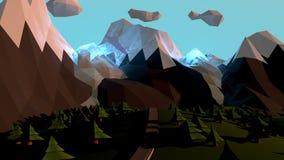 Paesaggio del mondo del fumetto con le montagne e gli alberi magici Immagini Stock Libere da Diritti